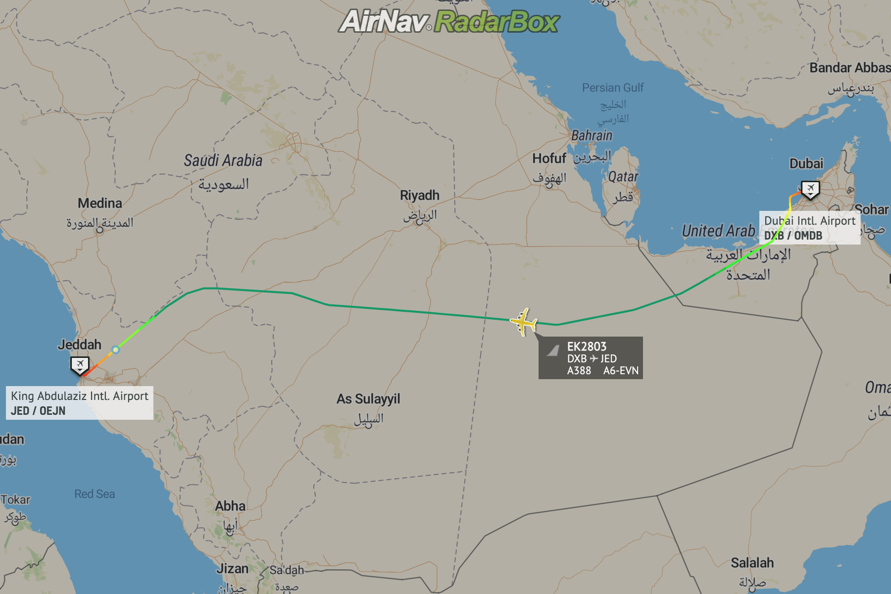 Map showing flight from Dubai to Jeddah